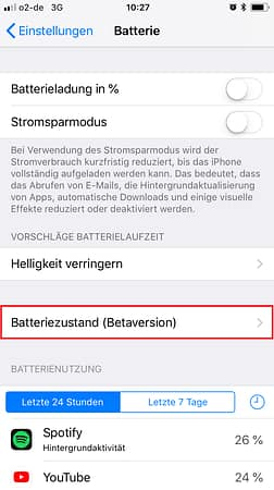 iphone xs batterie in prozent